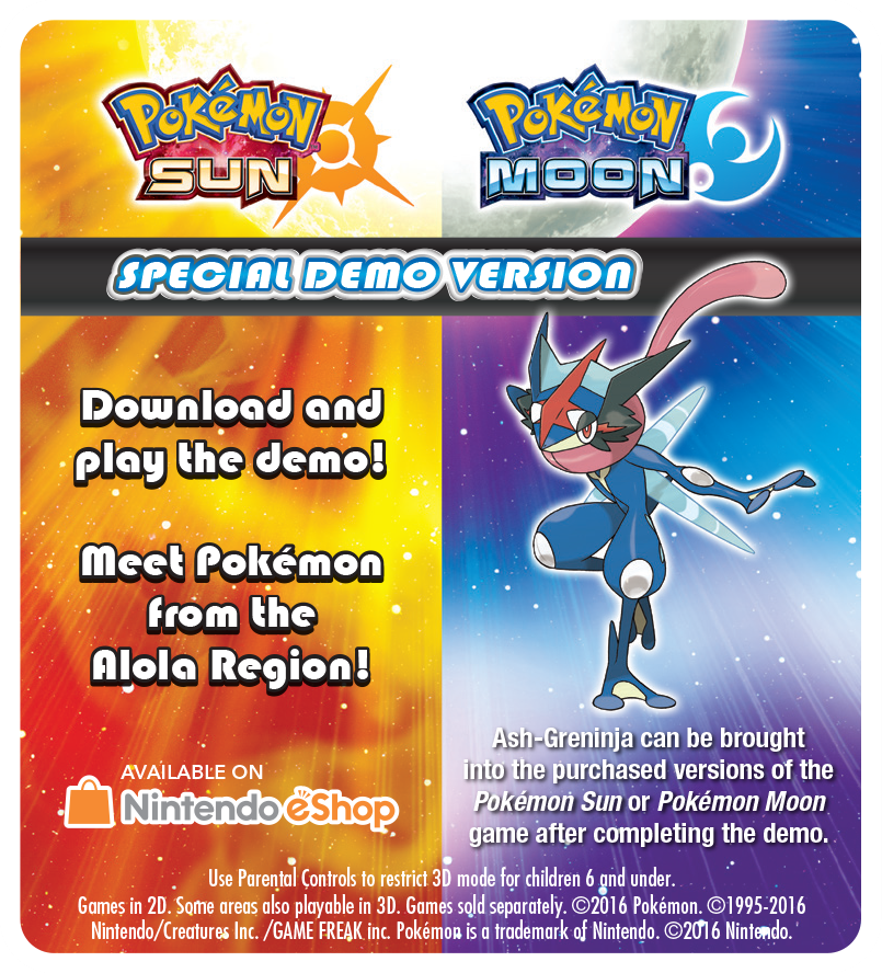 Pokemon Sun and Moon special demo version is now available in North