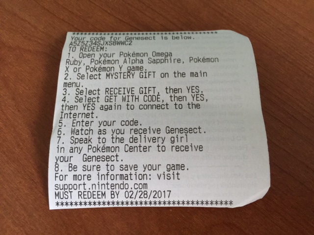 Genesect Codes Being Distributed Via Plain Old Receipts At Select Gamestop Stores Pokemon Blog