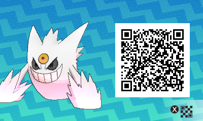 pokemon sun and moon qr scanner codes for mega gengar and shiny mega