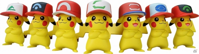 To Commemorate The 20th Anniversary Of Original Pokemon Anime Seven Sets Pikachu Figures Wearing Different Hats Just Like Ones Worn By Ash