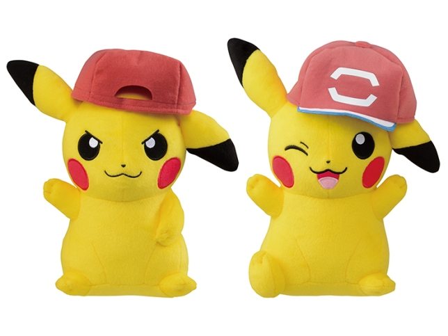 pokemon_plushies_of_pikachu_wearing_ashs_hats_from_kalos_and_alola