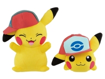 pokemon_plushies_of_pikachu_wearing_ashs_hats_from_sinnoh_and_unova