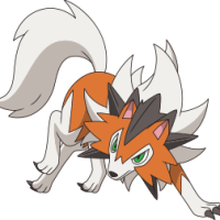 Official Pokémon Sun and Moon anime artwork for Dusk Form Lycanroc