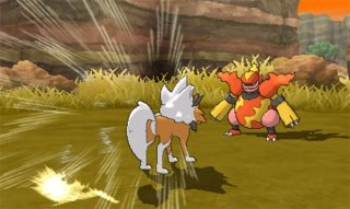 pokemon_ultra_sun_and_ultra_moon_first_battle_screenshot_of_dusk_form_lycanroc_vs_magmortar