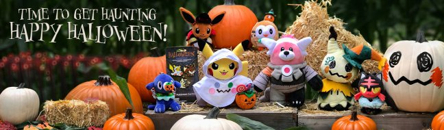 a brand new line of spooky themed merchandise has appeared at the pokmon center the official halloween trick or treat line currently consists of eight