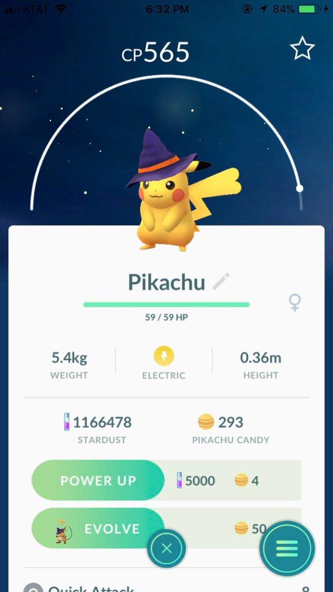 Pokémon GO screenshots of Pichu, Pikachu and Raichu wearing the ...