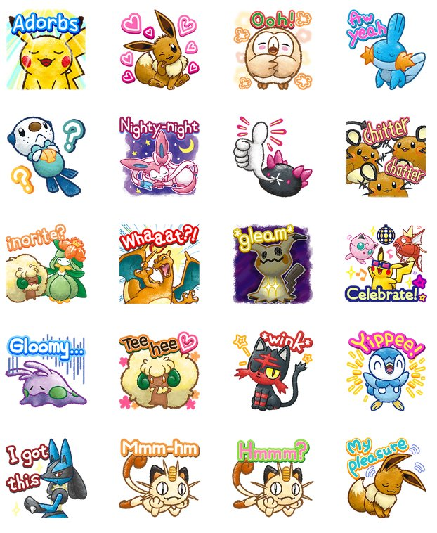 Stickers Pokemon.New Pokemon Chat Pals 2 Stickers Now Available On Line