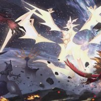 Official artwork for Ultra Necrozma confronting Yveltal, Xerneas, Mewtwo, Ho-Oh and Rayquaza in Pokémon Ultra Sun and Ultra Moon
