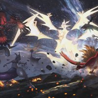 Breathtaking Pokémon Ultra Sun and Ultra Moon artwork for Ultra Necrozma, its Legendary confrontation and Naganadel