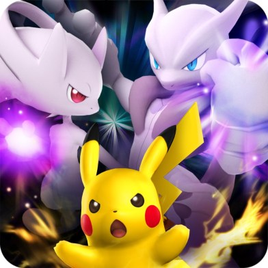 Pokemon_Duel_one_year_Anniversary_app_Icon_featuring_pikachu_mega_mewtwo_x_and_y