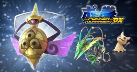 pokken_tournament_dx_battle_pack_dlc_artwork_featuring_Mega Rayquaza_Mimikyu_and_Aegislash