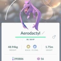 Pokémon GOscreenshots of new ShinyPokémon Shiny Aerodactyl, Shiny Kabuto and Shiny Omanyte