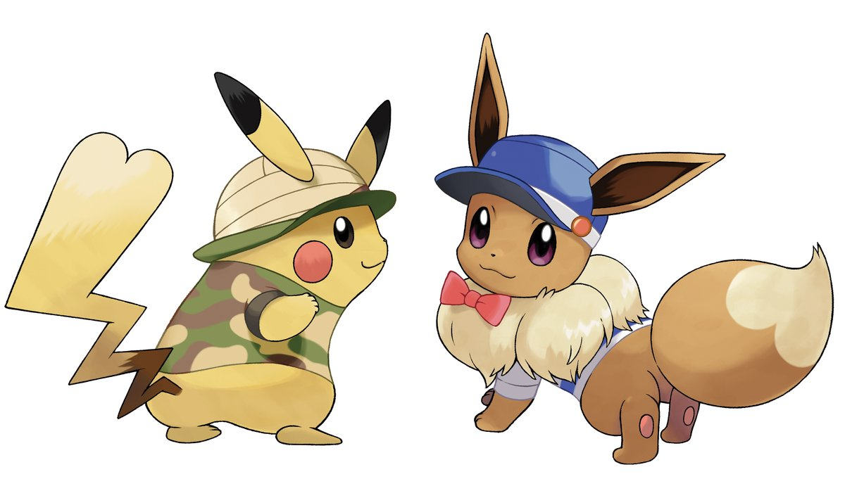 Official customization screenshots and artwork for female pikachu and female eevee in pok mon - Pokemon famille pikachu ...
