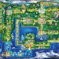 Official artwork for the new Kanto region map in Pokémon Let's Go Pikachu and Let's Go Eevee
