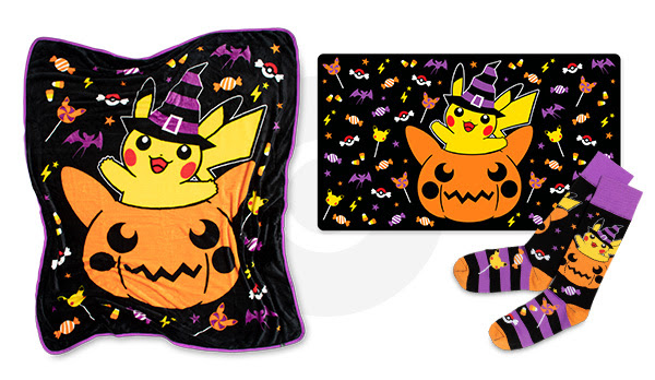 pikachu brings the treats this halloween with a fluffy blanket comfy socks and other treats to keep you warm these products are featured as part of the