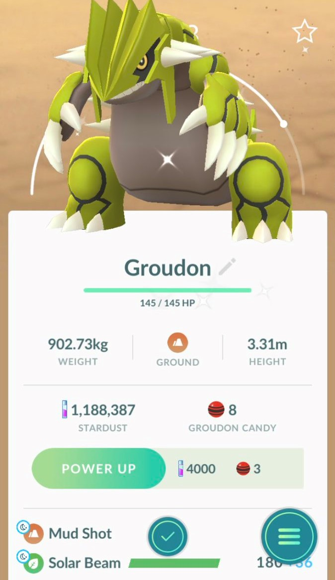 First Pokémon Go Screenshot Of Successfully Caught Shiny Groudon