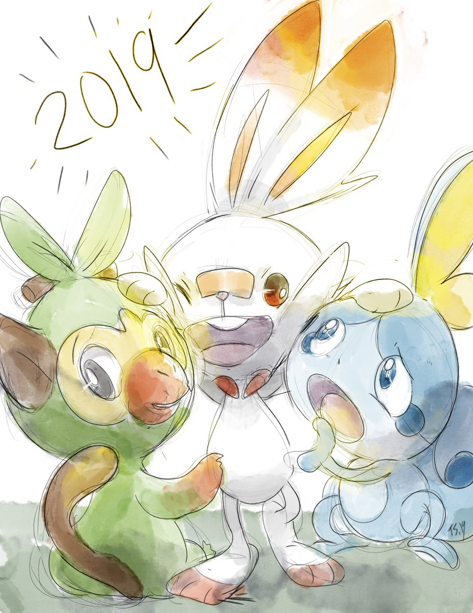 Fanart Pokémon Sword And Shield Sketches Of New Starters Grookey