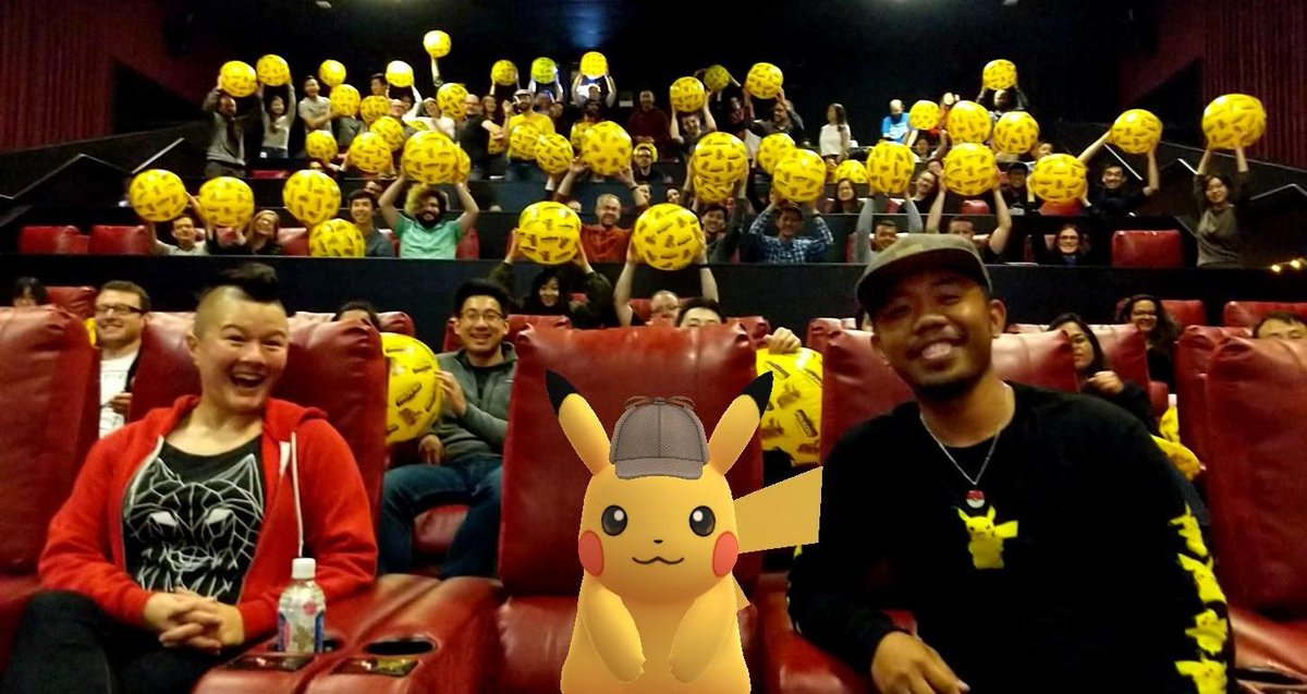 Niantic Employees Attend Showing Of Pokemon Detective Pikachu With Detective Hat Pikachu In Pokemon Go Pokemon Blog