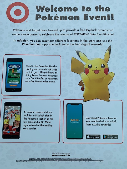 Target Pokemon Event Flier For Pokemon Detective Pikachu Stickers