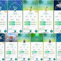 Pokémon GO screenshots of Glaceon, Shiny Glaceon, Leafeon, Shiny Leafeon, Magnezone, Shiny Magnezone, Probopass, Cherrim, Burmy and Shellos