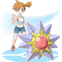 Pokémon Masters artwork for Misty and Starmie as a sync pair