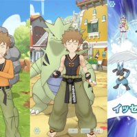 Official Pokémon Masters screenshots showcase Brock in his standard outfit with Onix compared to his Sygna Suit with Tyranitar