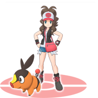 Official artwork of Hilda and Tepig as a sync pair in Pokémon Masters