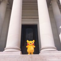 Pikachu visits The National Gallery of Art to promote the 2019 Pokémon World Championships in Washington, D.C.