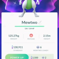 First Pokémon GO screenshot of successfully caught Shiny Mewtwo with the special move Psystrike