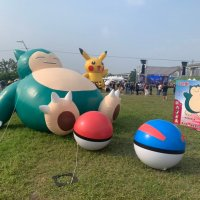 Giant balloons of Snorlax, Pikachu, Poké Ball and Great Ball appear at Pokémon GO Safari Zone in New Taipei City, Taiwan