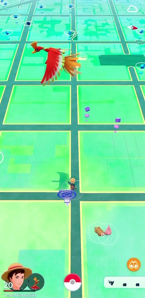 Video Buddy Adventure Footage Of Ho Oh On The Map View In Pokemon Go Pokemon Blog