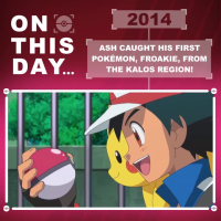 Video: Ash caught his first Pokémon, Froakie, from the Kalos region on this day in 2014