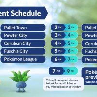 Official event schedule for Pokémon GO Tour: Kanto with the five different location-themed hours, during which Pokémon from different Collection Challenges will be appearing in the wild