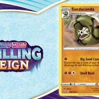 You can get a Sandaconda promo card from GameStop or EB Games with any purchase of $15 or more in Pokémon TCG products to commemorate Pokémon TCG: Sword & Shield—Chilling Reign