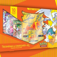 Full content details and release date revealed for the new Pokémon TCG: Reshiram & Charizard-GXPremium Collection launching exclusively atWalmart